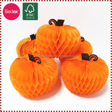 Large tissue paper honeycomb craft wholesale artificial pumpkins for Halloween decoration