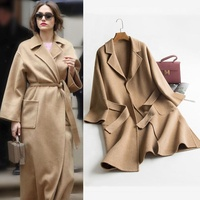 Hot sale bathrobe style long double face cashmere women's jacket belted clothes open front 100% wool coats
