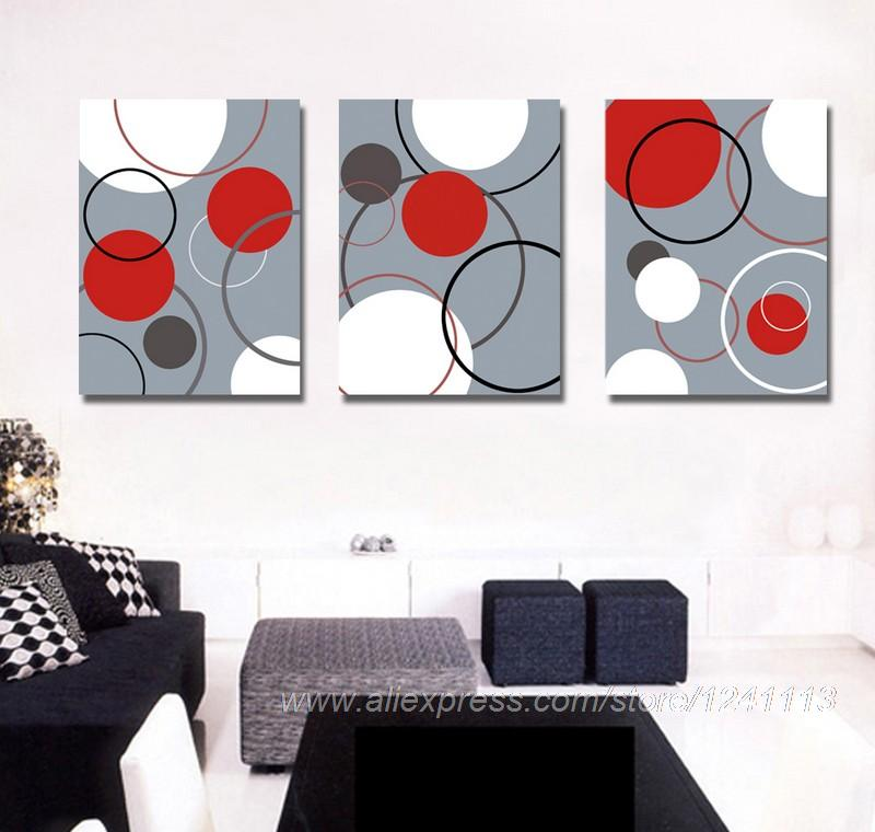 3Pcs Modern Abstract Art Painting Circle Pattern Printed On The Canvas Abstract Living Painting Room Background High Quality