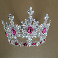 Hair Accessories Fashion Jewelry Design 2016 Manufacturer Custom Hot Pink Stones Crowns Rhinestone Pageant Crown & Tiaras