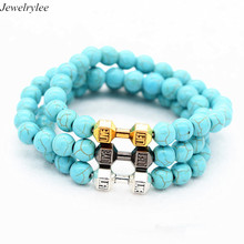 Bodybuilding Gym Fitness Jewelry Wholesale Mens Beaded Stone Sport Bracelet Turquoise Jewelry