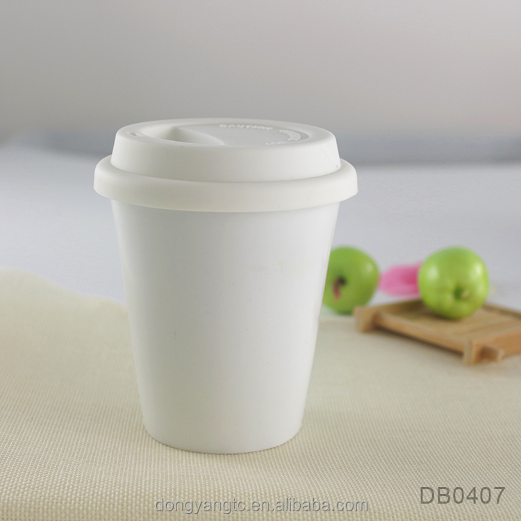 Wholesale white plain double wall ceramic thermal coffee cup, porcelain travel mug with silicone lid