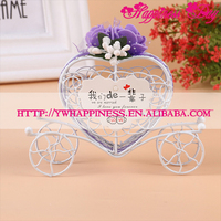 Purple Flower Candy Carriage Chocolate Boxes Heart Shaped Carriage Metal Candy Box