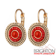 Brighton whosale alloy jewelry cheap gold plated red Miyuki French hook earrings