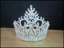 New designs rhinestone royal accessories cheap pageant crown tiara Miss universe