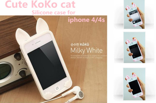New 3D koko cute Ear Cat Rabbit soft silicone Case For IPhone 4 4s phone cases Ear can Open the screen Free shipping