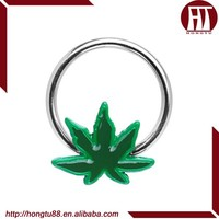 HT Hot Selling 316l Surgical Steel Nose Septum Cartilage Piercing Body Captive Bead Rings With Green Pot Leaf