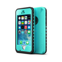 Waterproof Case for Iphone 5 5S Shockproof Fingerprint Scanner Touch ID Plastic Cover Glass Blue