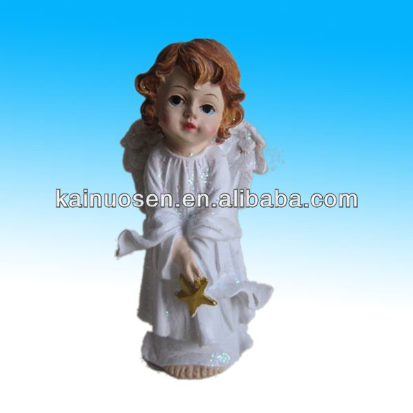 polyresin lovely angel wing figure for home decoration