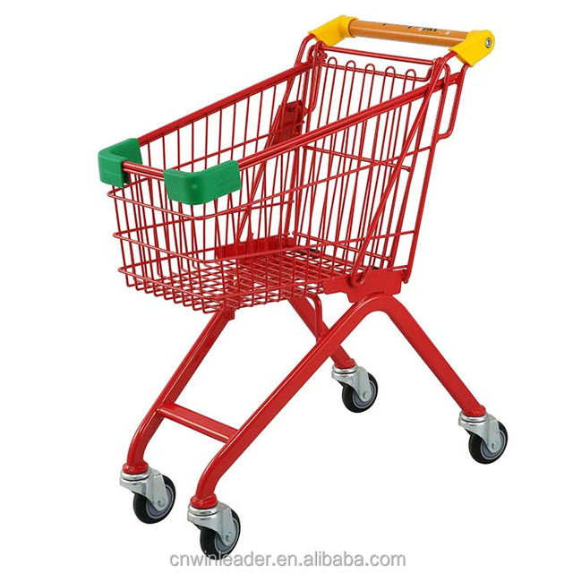 chrome plated kids metal mini grocery shopping cart/wire mesh shopping trolley for supermarket