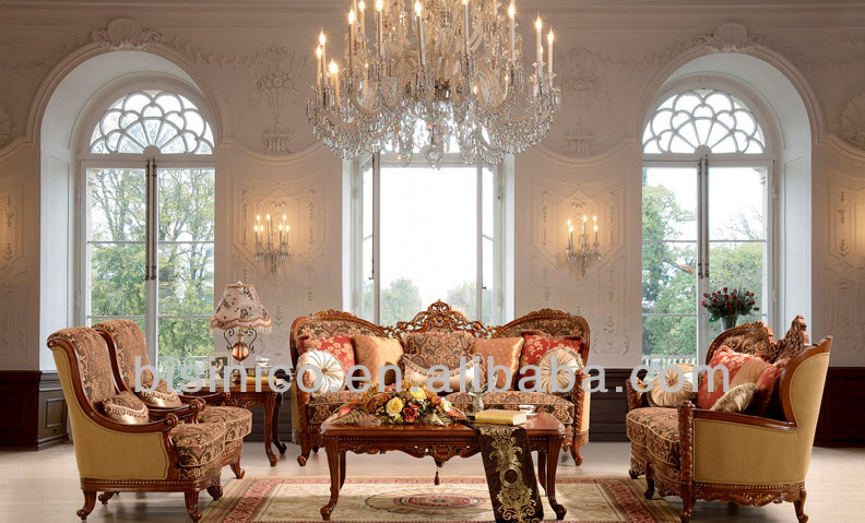 Ornate Spanish sofa set, classic hand carving antique living room furniture