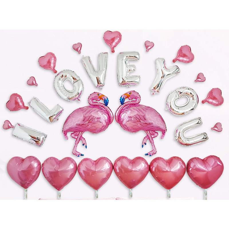 Merry Decoration Supplies Globos Pink Flamingo I Love You Wedding Foil Balloon Set Decoration