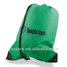 Green Budget Drawstring Bag with 420D Nylon