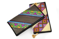colorful genuine leather women long embroidered wallet