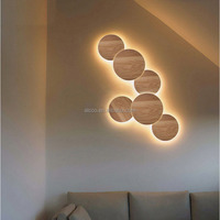 Hotel Project Round Wood LED The Wall Lamp, Indoor Decoration Wall LED Lighting