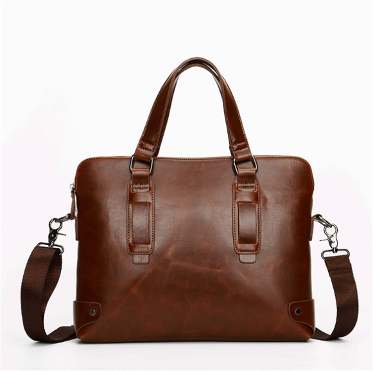High quality waterproof oil PU leather office laptop tote men's notebook PC bag men fashion bag