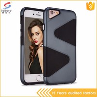 Guangzhou wholesale latest design S shaped tpu+pc phone case for iphone 7 7 plus case