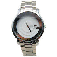 Special turntable dial sliver mesh alloy metal band japan quartz movment paidu casual wrist watch