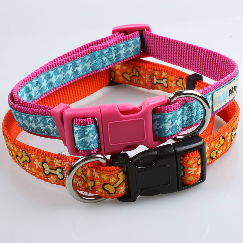 Nylon material braid dog collar top quality no minimum order
