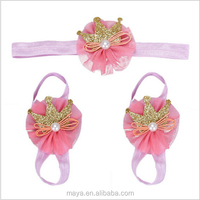 Modern Elastic 1PC Hair band + 2PC Foot flower bands Barefoot Set for Baby Infants Girls Hair Accessories Pink Crown