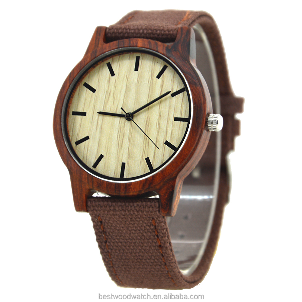 2017 Lastest Simple Style Modern Bamboo Watch Custom Logo Wood Watch With Canvas Strap