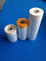 plastic film with masking tape for paint protective