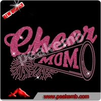 2016 New Cheer Mom glitter transfer and rhinestone transfer iron on t-shirts