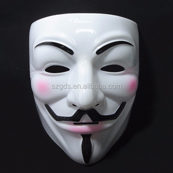 Wholesale PVC/latex Guy Fawkes Mask V for Vendetta Mask /Christmas Halloween Masquerade mask for V For Vendetta Mask