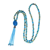 Imperial jasper beads necklace Hand knotted natural semi precious stone mala seedbeads fringe necklace