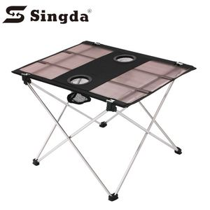 New product metal outdoor picnic 600D oxford foldable clear hole table camping table aluminum