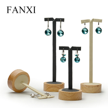 FANXI Vintage Custom Soild Wood Jewelry Display Stand With Microfiber Insert For Ear Stud Earrings Holder Wooden Earring Display