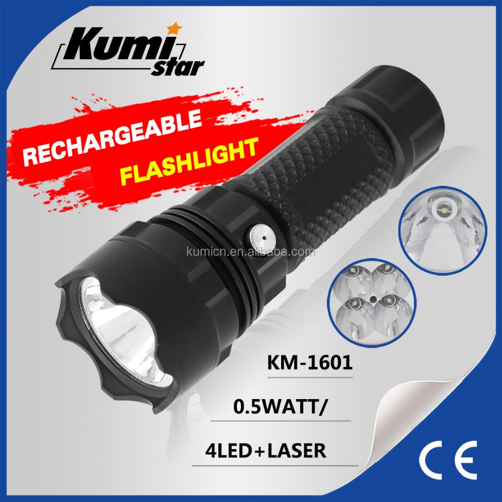 Laser Portable LED Tactical Torch Outdoor Rechargeable Flashlight Two Specifications Plastic Torch Light KM-1601