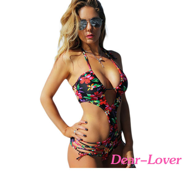 <strong>Sexy</strong> Floral Printed One Piece Swimwear Monokini Swimsuit For Women