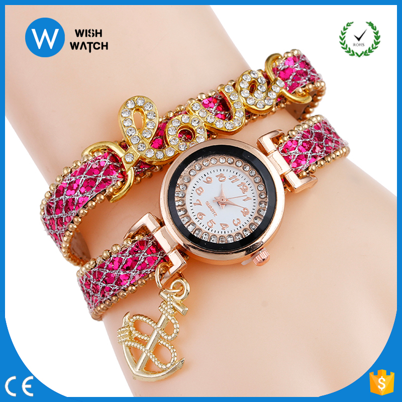 2957 Latest 2017 Fashion Watch Luxury Full Rhinestone LOVE Diamond Pendant Bracelet Wrap Leather Lady Wrist Watch Bracelet Watch