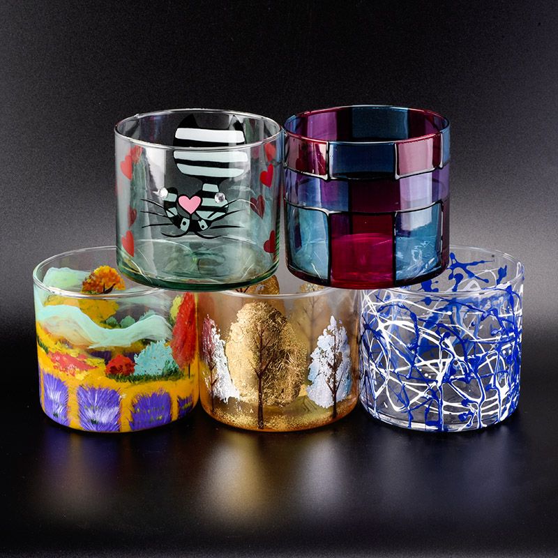 13oz Cylinder Glass Candle Holders with Hand Painting