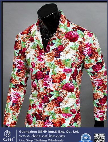 three flowers long shirts men's shirts men's non-iron slim casual shirts