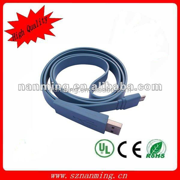 USB 2.0 A male to Micro USB Cable Flat Style Flat noodle cable with Various Colors