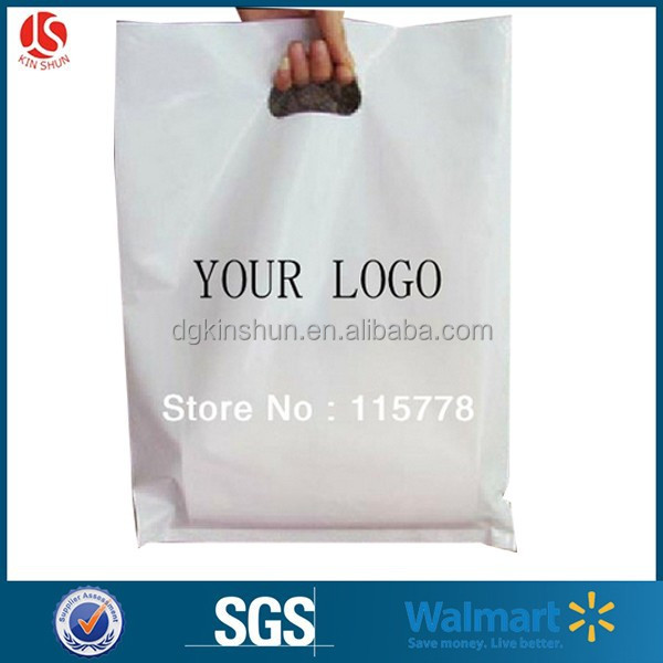 logo printed promotional Die-cut handle plastic retail shopping bags