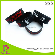 fashion black 1 inch band color filled silicone wristband