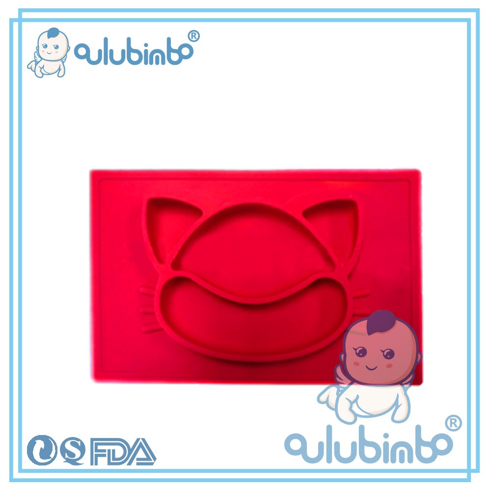 Wholesale cat shaped baby silicone plate custom logo decorative plates kids dinner plate