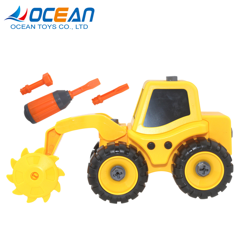 Accept custom logo educational assembling learning yellow toy truck for kids