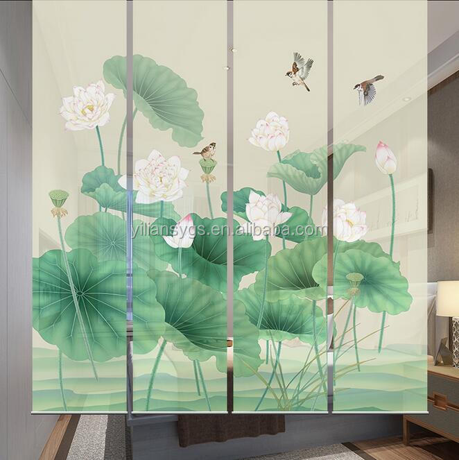 Special fabric semi blackout partition roller blinds with lotus and bird design