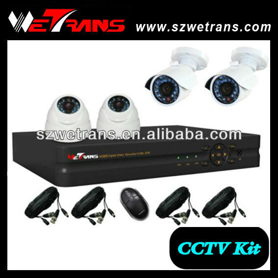 WETRANS Best Home Security System Auto DVR Camera and 4CH H.264 Network Auto DVR Recorder