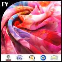 Custom digital print 100% natural silk chiffon fabric wholesale