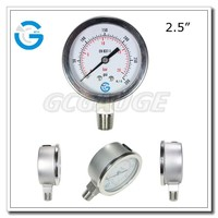 High quality 2.5inch stainless steel manometer with bottom connection