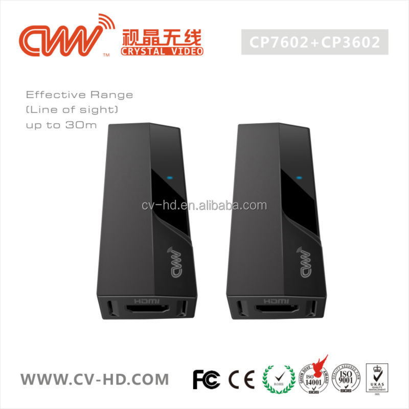 CVW CP7602/CP3602 Wireless HDMI video extender at 1080p with high resolution lossless 7.1 channel digital audio up to 30M