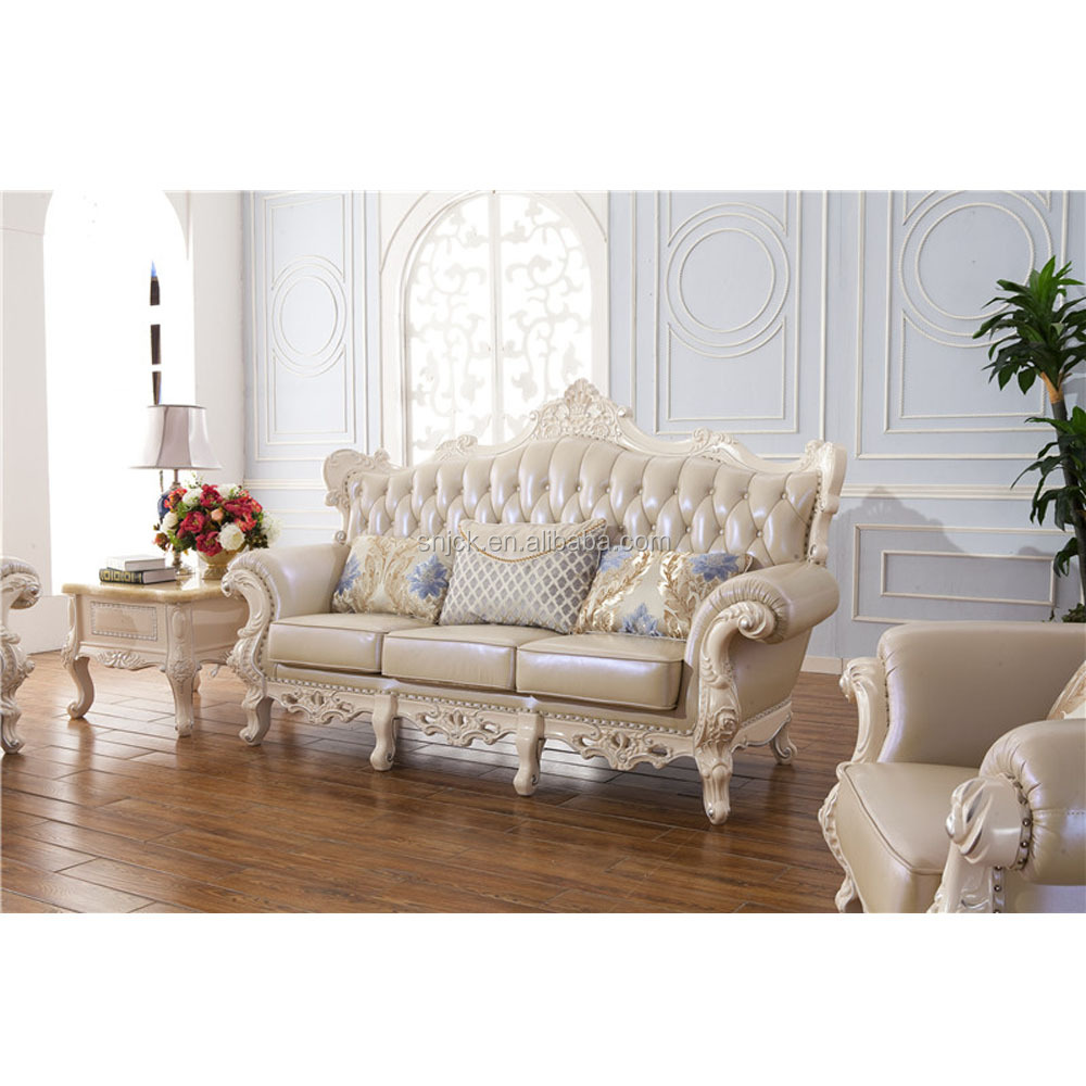 Chinese Furniture Factory 3 Seaters Classic White European Sofa