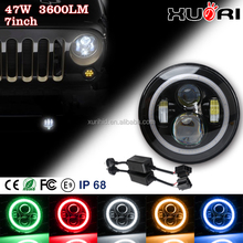 New Arrival 7'' Round LED Work Lamp 47W LED Headlights Conversion Kit With Halo Angel Eyes White Orange Blue for Jeep wrangler