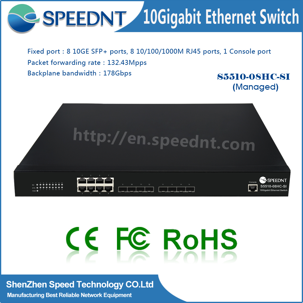 Intellinet Network Solutions 10G SFP+ optical ports 8-Port 10g copper switch