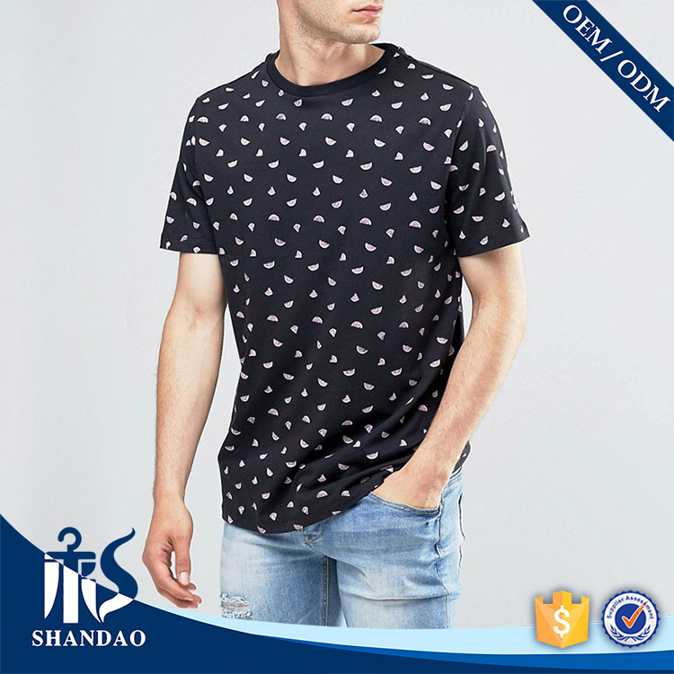 Shandao Fashion Black with Diamond Dazzle 140g 60% Cotton 40% Polyster O-Neck Short Sleeve stock clearance t shirt
